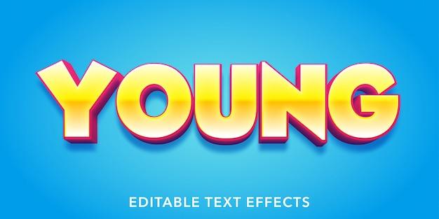 Efecto de texto editable de estilo 3d de texto joven