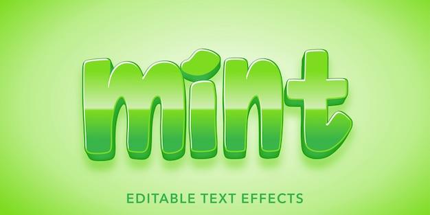 Efecto de texto editable de estilo 3d de texto de menta