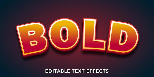 Efecto de texto editable de estilo 3d de texto en negrita