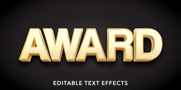 Efecto de texto editable de estilo 3d de texto de premio