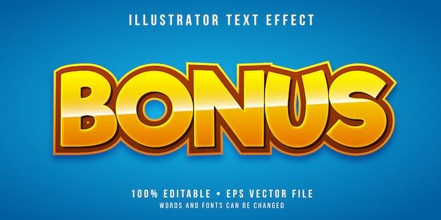 Efecto de texto editable - estilo de bonificación del juego