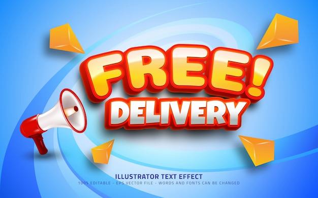 Efecto de texto editable, estilo de entrega gratuita