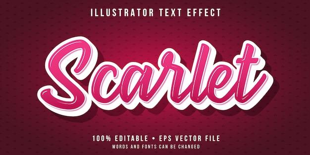 Efecto de texto editable - estilo de escritura rojo escarlata