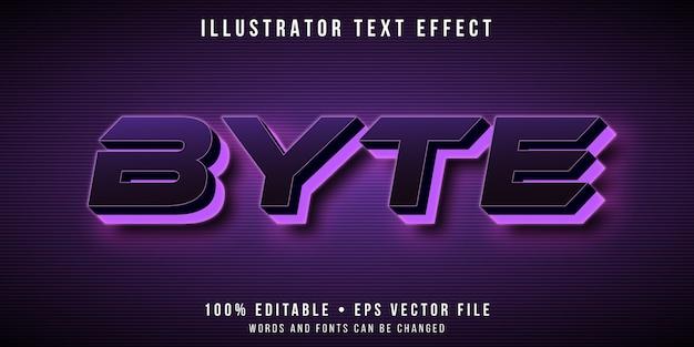 Efecto de texto editable: estilo futurista de neón púrpura brillante
