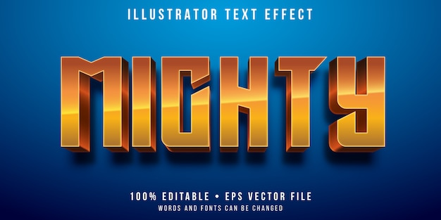 Efecto de texto editable: estilo de héroe poderoso