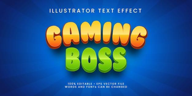 Efecto de texto editable estilo jefe de juego premium