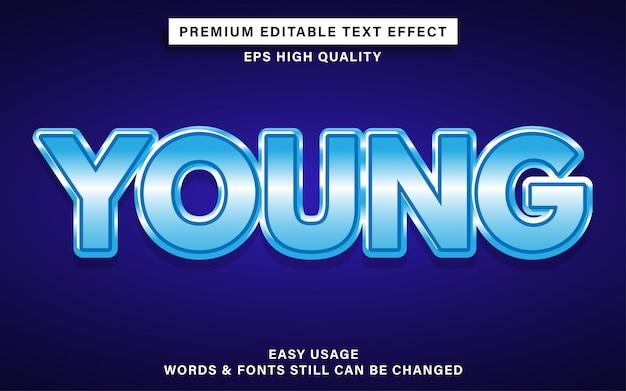 Efecto de texto editable de estilo joven