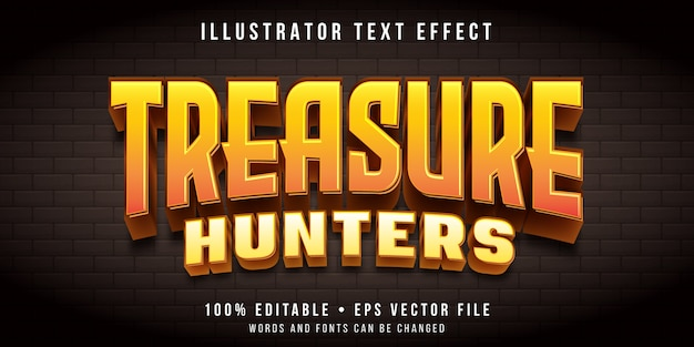 Efecto de texto editable: estilo de juego de búsqueda del tesoro