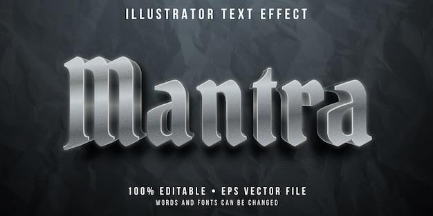 Efecto de texto editable - estilo mantra plateado