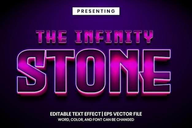 El efecto de texto editable de estilo de película popular de piedra infinita