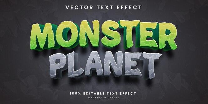 Efecto de texto editable en estilo planeta monstruo
