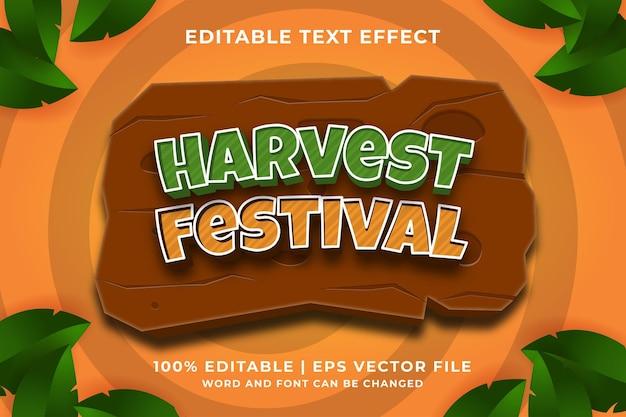 Efecto de texto editable: estilo de plantilla 3d del festival de la cosecha vector premium