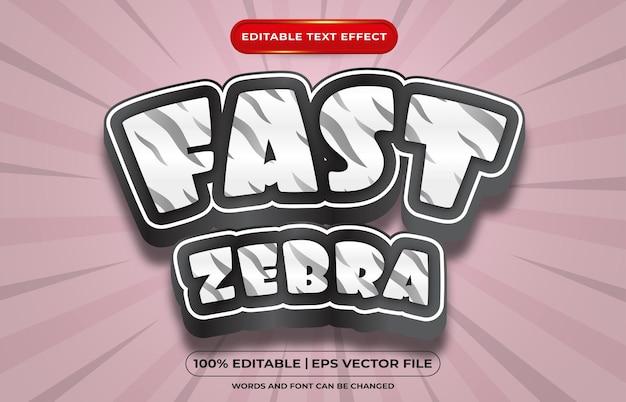 Efecto de texto editable estilo de plantilla de cebra rápida