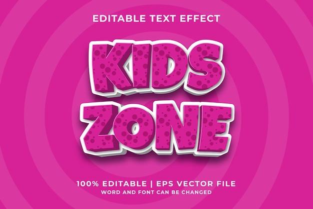 Efecto de texto editable: estilo de plantilla de dibujos animados de kids zone vector premium