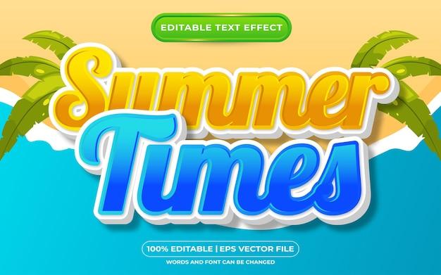 Efecto de texto editable estilo de plantilla de horario de verano