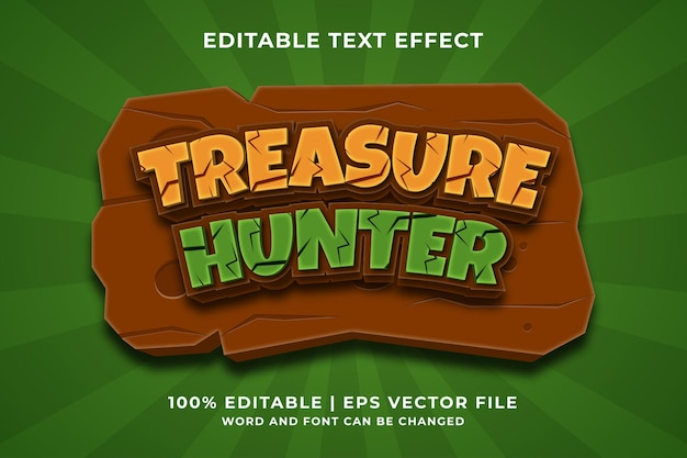 Efecto de texto editable - estilo de plantilla treasure hunter 3d vector premium