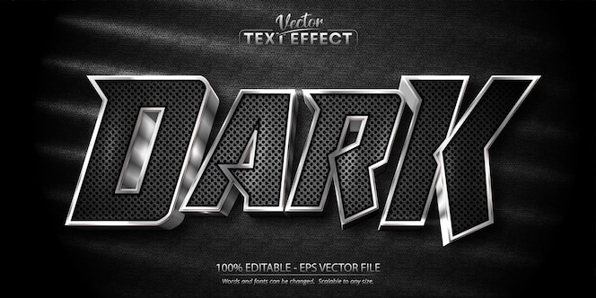 Efecto de texto editable de estilo plateado brillante de texto oscuro