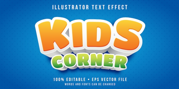 Efecto de texto editable - estilo de sección infantil