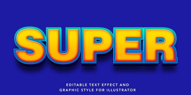 Efecto de texto editable estilo super carta