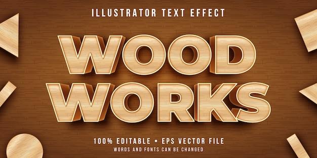 Efecto de texto editable - estilo de talla de madera