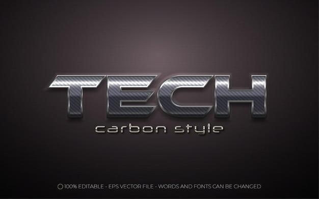 Efecto de texto editable, estilo tech carbon