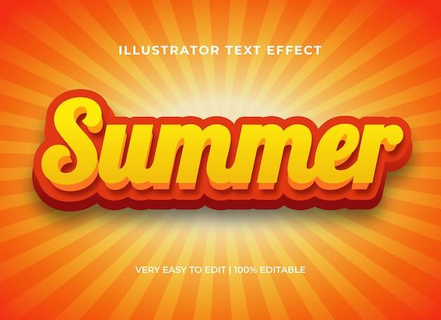 Efecto de texto editable, estilo de texto 3d cómico brillante de verano