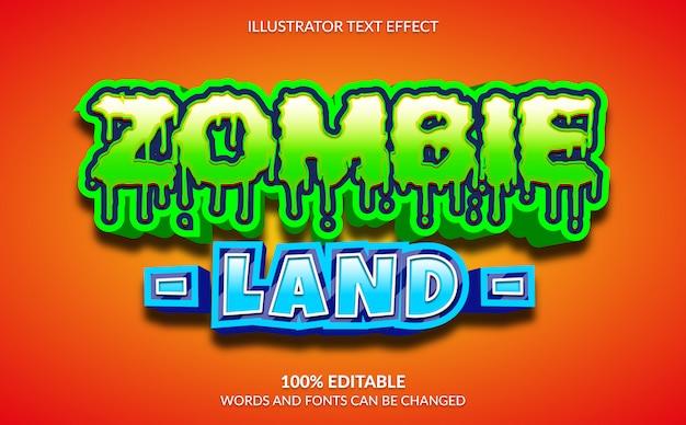 Efecto de texto editable, estilo de texto 3d zombie land para videojuegos