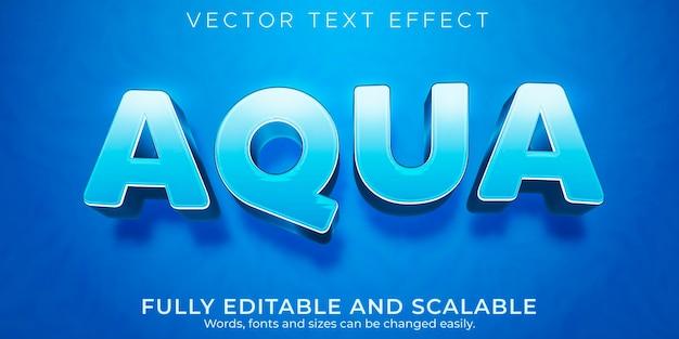 Efecto de texto editable, estilo de texto de agua aqua