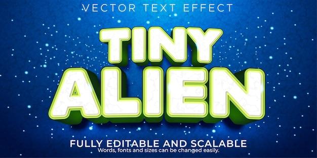 Efecto de texto editable, estilo de texto alienígena diminuto