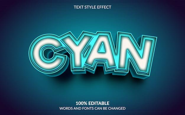 Efecto de texto editable, estilo de texto cian