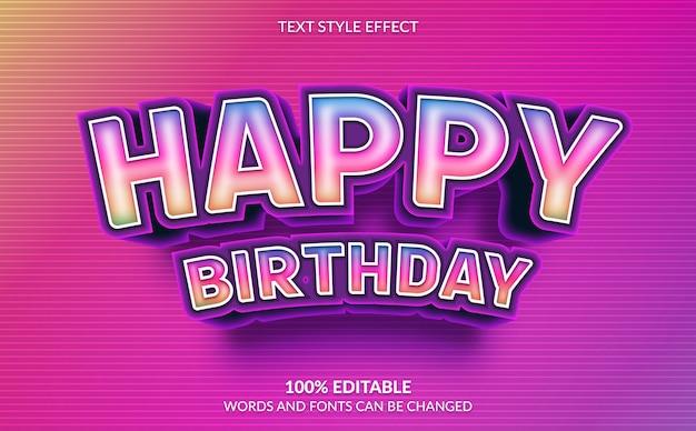 Efecto de texto editable, estilo de texto de feliz cumpleaños del arco iris