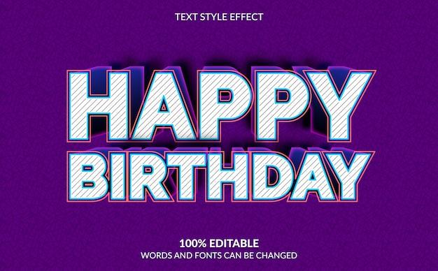 Efecto de texto editable, estilo de texto de feliz cumpleaños