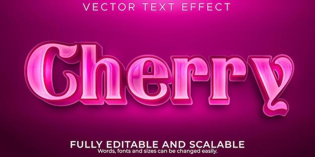 Efecto de texto editable, estilo de texto metálico cereza
