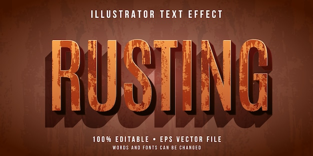 Efecto de texto editable: estilo de texto oxidado