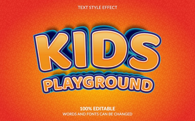 Efecto de texto editable, estilo de texto de patio de juegos para niños
