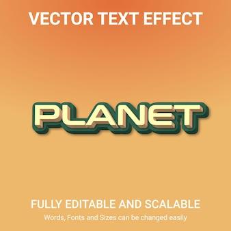 Efecto de texto editable: estilo de texto planet