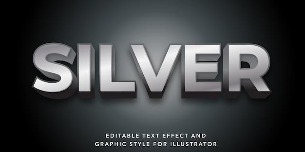 Efecto de texto editable para estilo de texto plateado