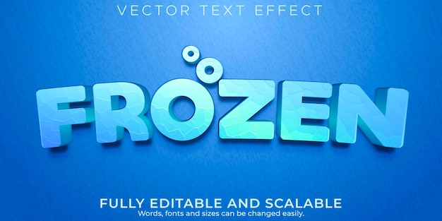 Efecto de texto editable, estilo de texto del reino congelado