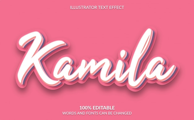 Efecto de texto editable, estilo de texto rosado lindo