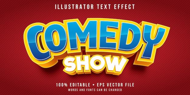Efecto de texto editable: estilo de título de programa de comedia
