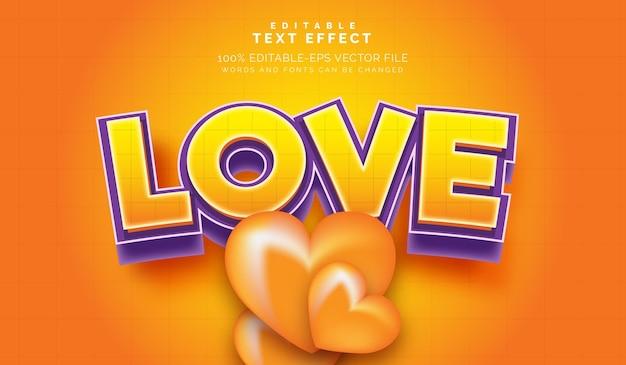 Efecto de texto editable estilo valentine's love