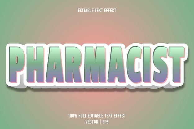 Efecto de texto editable farmacéutico 3 dimensiones en relieve estilo de dibujos animados