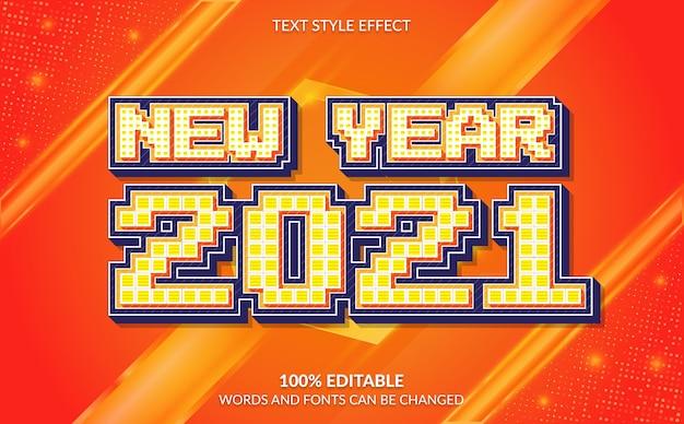 Efecto de texto editable feliz año nuevo con fondo abstracto