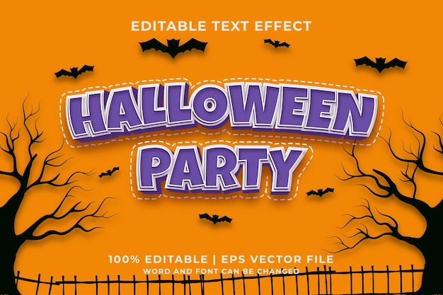 Efecto de texto editable de fiesta de halloween estilo de plantilla 3d vector premium
