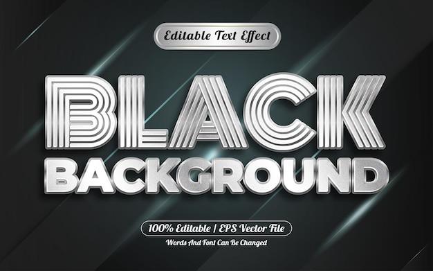 Efecto de texto editable fondo negro estilo plata