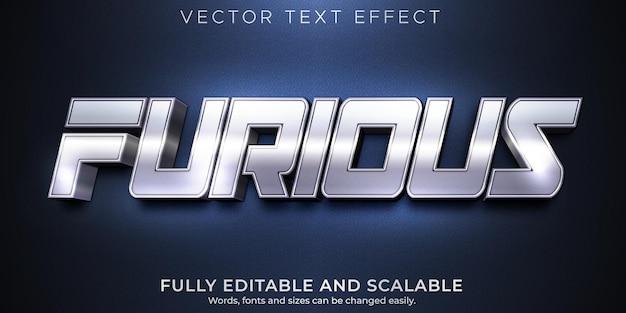 Efecto de texto editable furioso estilo de texto metálico y brillante