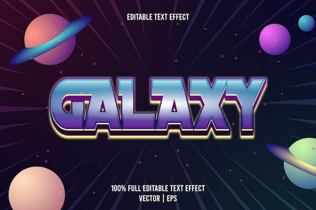 Efecto de texto editable galaxy 3 dimensión en relieve estilo moderno