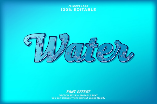Efecto de texto editable gota de agua premium