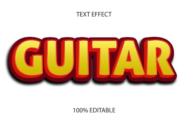 Efecto de texto editable guitarra color amarillo rojo