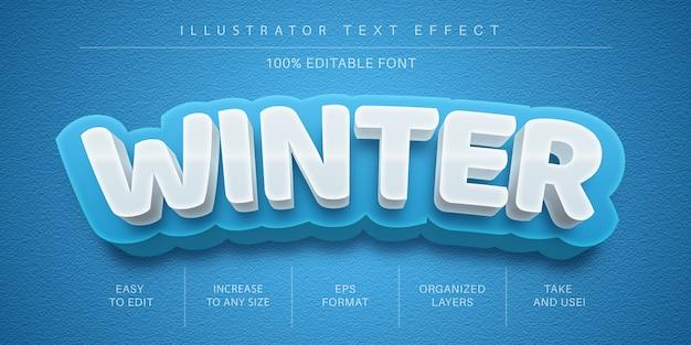 Efecto de texto editable de hielo de invierno 3d